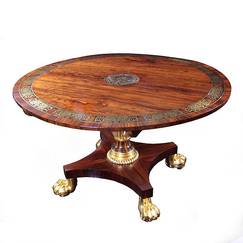 A superb Regency rosewood & brass centre table, manner of Thomas Hope, c1815
