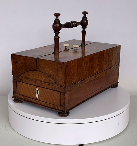 Early 19th C fitted writing box with geometric inlay, classical design