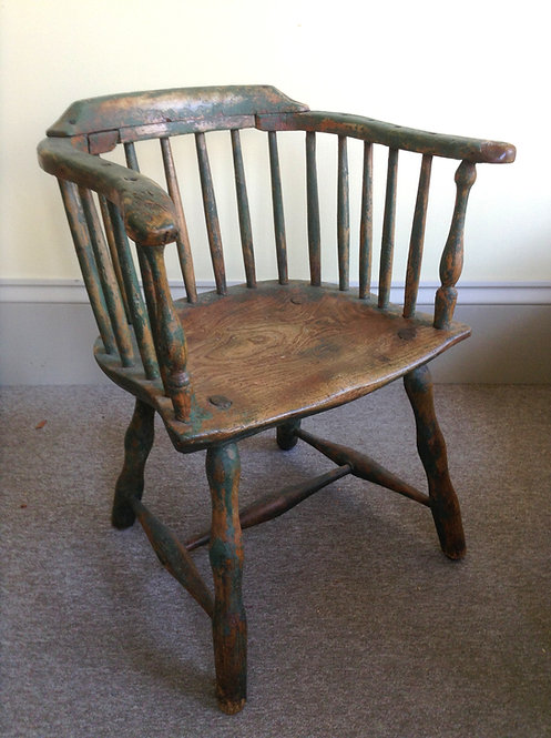 A Canadian low back Windsor arm chair found in Newfoundland, original untouched