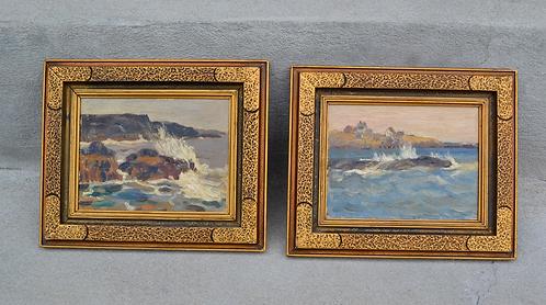 Rita Mount (Canadian, 1885-1967) Pair of shorelines miniature oil paintings