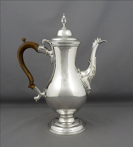 A George III sterling silver coffee pot, William Collings, London 1775