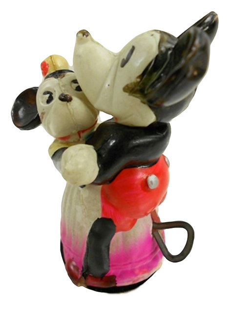 A very rare Mickey & Minnie Mouse celluloid wind-up 'dancing couple', c1930