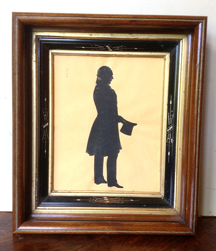 A Canadian 19thC silhouette of Captain Simon Graham, Richibutou New Brunswick