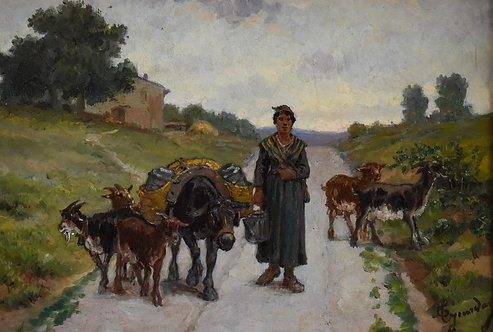 Théodore Jourdan (French, 1833-1908) 'Goat-herder and her Donkey' c1880