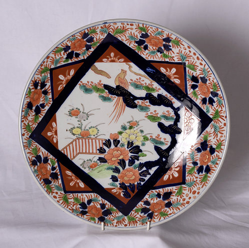A large 19th C Imari charger, Japanese, c1860