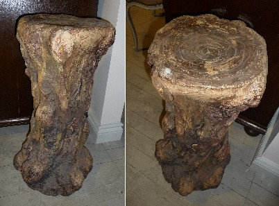 A 19thC Italian terracotta pedestal in the form of a tree trunk, c1880