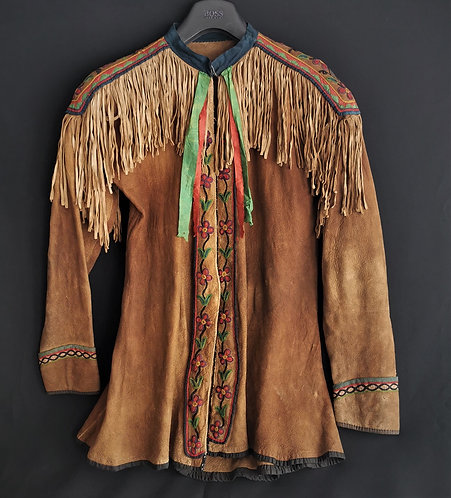 An early to mid 19th C Eastern Great Lakes hide jacket possibly Ottawa or Seneca