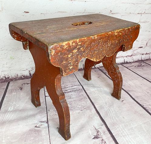 A 19th C Quebec utility bench / petit banc chantourné in original colour, c1860