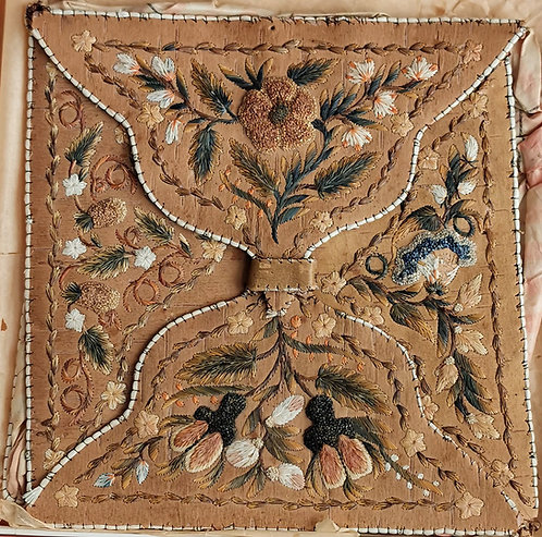 A mid 19th C Indigenous Canadian moosehair embroidered birch bark hanky pouch