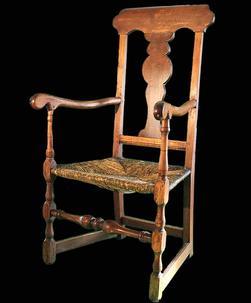 A magnificent Louis XIII regime 18th C Quebec fauteuil / armchair with rush seat