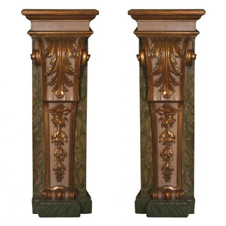 A pair of early 18th C Italian carved gilt & painted wall pedestals, c1730