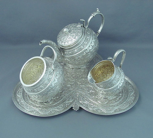 A fine quality 19th C Indian silver tea set & tray from Kashmir c1880