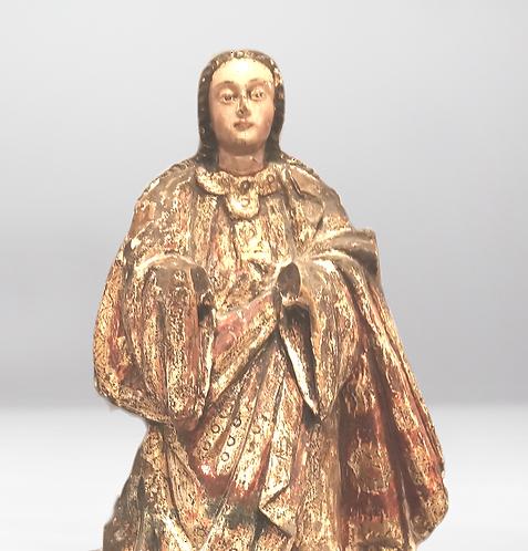 A 19th C or earlier polychrome 'Santos' figure of a Saint, of Spanish influence