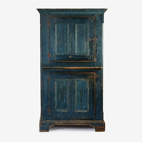 An unusual 19thc Quebec cupboard, in original blue-green paint, c1840