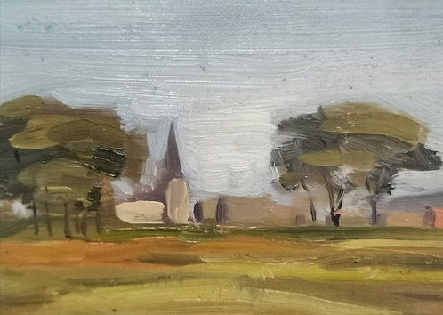 Umberto Bruni RCA (Canadian, 1914 - 2021) 'Rural Landscape' c1930s