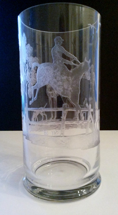"A late 19th C English crystal vase hand etched with various scenes of ""The Hunt"""