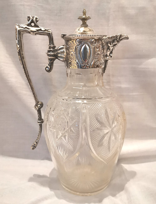 An early 20th C sterling silver mounted claret jug, by Atkinson Bros, Sheffield