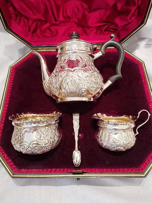A London sterling silver 'tete a tete' 4-piece tea set, Jackson & Fullerton 1898