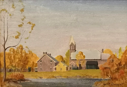Harold Beament (Canadian, 1898 - 1984) 'Church with village buildings'