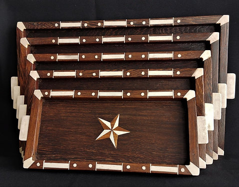 A rare set of five nested marquetry trays, marine ivory in padouk wood, c1850