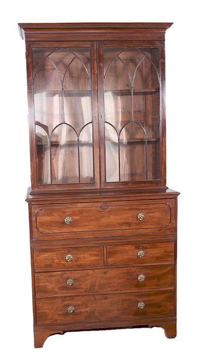 An exceptionally fine Regency mahogany secretaire bookcase, English, circa 1810