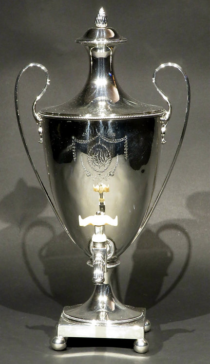 A fine 18th C Neoclassical sterling silver coffee urn, London 1783