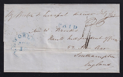 "Canada 1843 Wreck of the Cunard Liner ""Columbia"" Stampless Folded Letter"