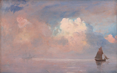 Carl F. Sorensen (Danish 1818-1879)  Ships In A Morning Fog