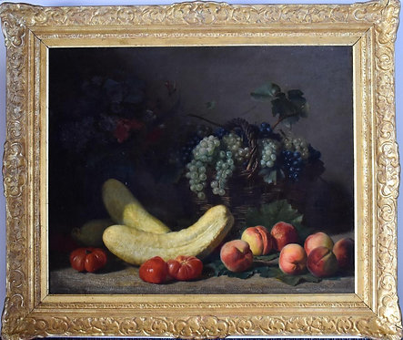 Jacques Delanoy (French, 1820-1890) 'Still life with fruits & vegetables' c1885