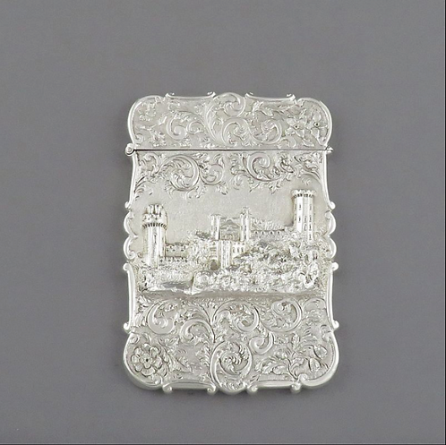 A Victorian sterling silver 'Warwick Castle' card case, Nathaniel Mills, 1845