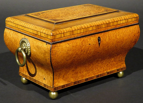 A very fine Biedermeier tea caddy of bombe form in exotic woods, Austria c1830