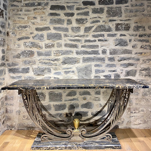 """Art deco period console in the Poillerat maner with rare """"Brêche d'or"""" marble"""