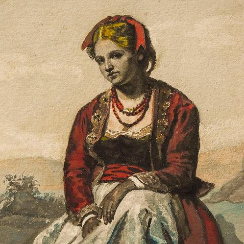 Juan Antonio Vera Calvo (Seville, 1825-1905) 'Portrait of a young Italian woman'