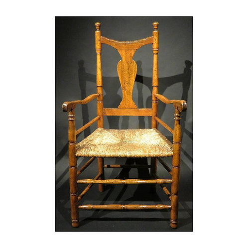 18thC American Queen Anne rush seated armchair, Connecticut, circa 1750