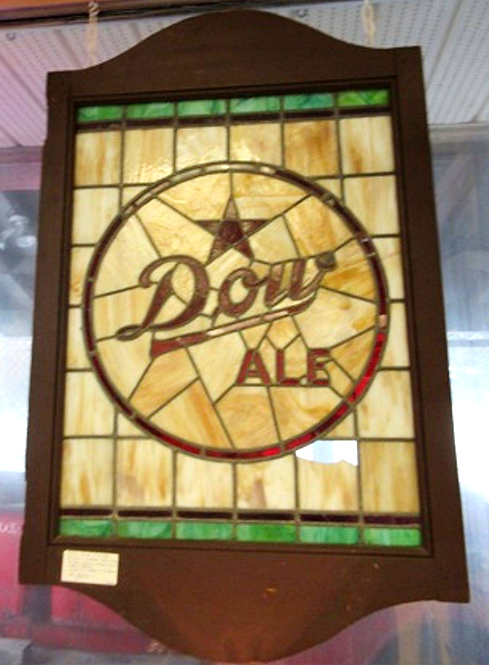 An early 20thc 'Dow Ale' stained glass advertising window, Quebec, c1910