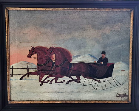 19thC folk art painting of a horse-drawn sleigh, oil on canvas