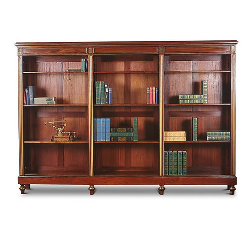 A handsome French Napoleon III mahogany open bookcase with brass accents, c1880