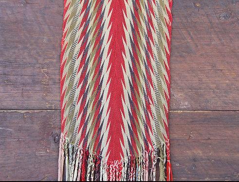 A fine 19th C woven Assomption sash - Ceinture fléchée, Quebec