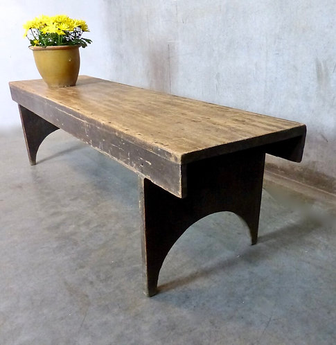An early 20th C Canadian pine Doukhobor bench from the Prairies