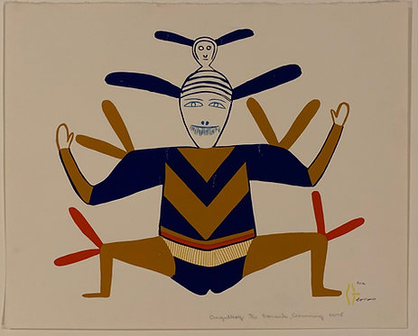 "Jessie Oonark sergraph "" Angutkoq"" 1975"