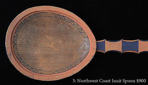 Large Northwest Coast carved and painted cedar spoon, Yupik culture early 20th c
