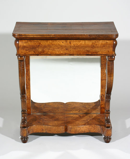 An early 19th C French burl elm Charles X period mirror back console, c1825-30