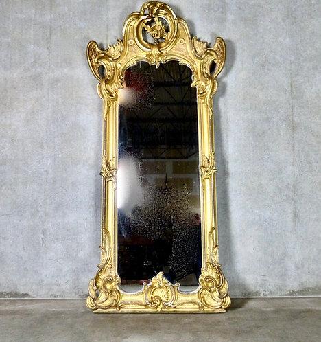 A spectacular 19th C French water gild (original gold leaf) mirror, c1840