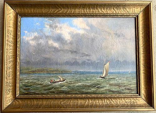 Edward Scrope Shrapnel (1847-1920) 'Sail boat in Muskokas' dated 'Orillia 1878'
