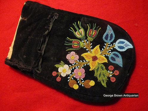 A 19th C Athapaskan beadwork on velvet utility bag Chipewyan or Great Slave Lake