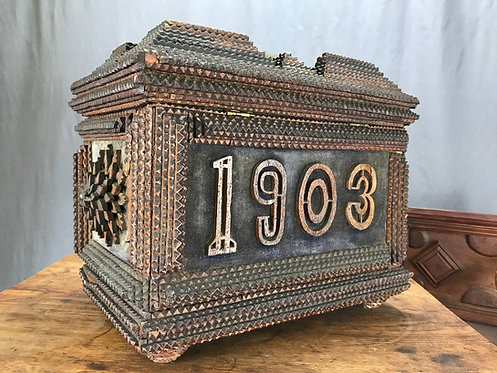 A Canadian chip-carved tramp art Lady's box, Nova Scotia, dated 1903