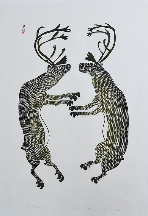 Inuit stonecut print of dancing caribou by Pauta Saila, Cape Dorset