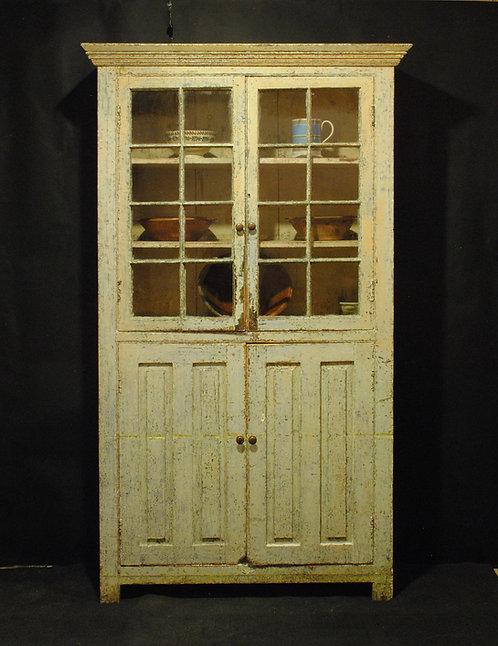 A mid 19th C Canadian pine glazed cupboard - armoire vitré, c1840