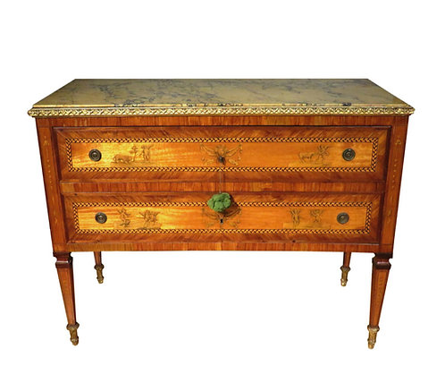 An Exceptional 18th C Italian neoclassical parquetry & marquetry commode