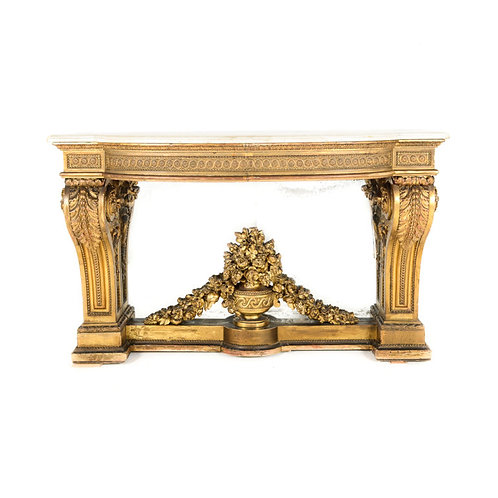 An important Louis XVI hand-carved giltwood marble-top console, France c1780